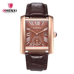 Wholesale Gold Wrist Watches - Square Luxury Brand Mens Watches Male Cuticle With Wrist Watch Calendar Waterproof Rectangle Quartz Men Watch a Substitute Dawn Watch
