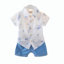 Little Boys Summer Outfits Stripe Coruja Imprimir Camisas de Manga Curta + Calções Azuis 2 Peça Gentleman Clothes Suit de