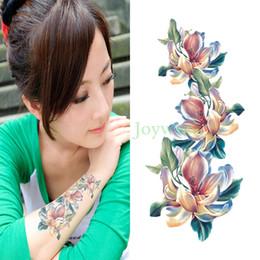 chicas tatuajes falsos Rebajas Impermeable Etiqueta Engomada Del Tatuaje Temporal flor de la orquídea tatuajes del arte del cuerpo de las mujeres flash tatoo tatuajes falsos para niña 7