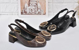 Wholesale Kitten Heel Dress Shoes - Womens 1A3OYS 4.5cm Heel Madeleine Pump Momogram Canvas,Patent Calf Leather,Leather Outsole,with Dust Bag Box Receipt