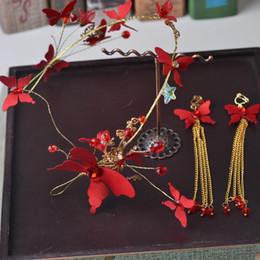 2019 matrimonio della farfalla della spiaggia Sposa Red Butterfly Head ornamenti Una corona tiara da sposa accessori per capelli da sposa velo cappelli firmati berretti da uomo accessori per capelli da donna spiaggia matrimonio della farfalla della spiaggia economici