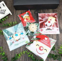 2019 envoltura de regalo adhesivo 100 unids / lote Cartoon Gift Bag Christmas Cookie DIY comida autoadhesiva Seal Packaging Bag Santa Claus Muñeco de nieve Galletas Wrap CCA10716 50lot envoltura de regalo adhesivo baratos