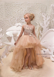 Wholesale Wedding Dress Lace Feathers Satin - Princess Flower Girl Dresses 2018 Summer High Low Lace Applique Children's Party Gowns Champagne Feather Pageant Dresses Custom Made