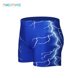 Wholesale 4xl Mens Briefs - ONEDOYEE Sexy Male Swim Briefs Lightning Men's Swimwear Mens Swimming Trunk Sport Shorts Beach Swim Suit Boxer