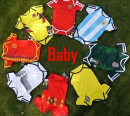 Wholesale Striped Shirt For Kids - Baby Jersey For 6 To 18 Month Baby 2018 World Cup Shirt Brazil Argebtina Spain Mexico Colombia Belgian Russia Kid Jersey 2018 Baby Shirts