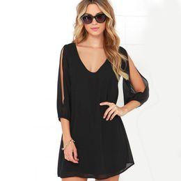 Summer Loose Casual Beach Mini Swing Dress One playsuits Chiffon Bikini  Cover Up Womens Clothing Sun Dress Short Skirts Wholesale 91cd0f76b