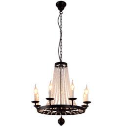 Lustre de ferro preto vintage on-line-Lustres de cristal de ferro americano K9 pingente de cristal luminária lustre preto decoração da casa 8/10/12 cabeças