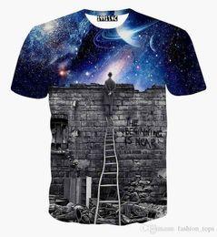 Mais recente espaço da galáxia impresso criativo camiseta 3d tshirt dos homens verão novidade 3D feminina psicodélico camisetas roupas de Fornecedores de homens moda camisa preta bonita