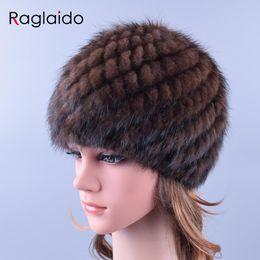 Wholesale genuine mink hat - Raglaido Knitted Mink Fur Hats for Women Genuine Natural Fur Pineapple Cap Winter Snow Beanie Hats Russian Real Fur Hat LQ11191