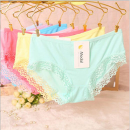 modal dresses Promo Codes - 10 pcs lot High Quality comfortable women lace modal sexy women brief panties underwear cloth dress XL
