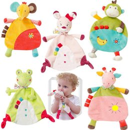 soft animal baby rattles Coupons - Newborn Infant 5 Style Baby Soft Towel Deer Cat Frog Monkey Elephant Comfort Appease Plush Rattles Toy Animals Comforting Blanket