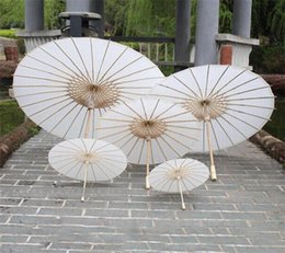 Wholesale Chinese Paper Umbrellas Wholesale - New Bridal Wedding Parasols White Paper Umbrellas Chinese Mini Craft Umbrella Diameter 20 30 40 60cm Wedding Umbrellas DHL FEDEX free