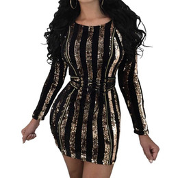 Wholesale Plus Size Womens Summer Wear - Sexy Gold Sequined Bodycon Dress Womens Long Sleeve Round Neck Waistband Lace Up Party Club Wear Dresses Vestidos Plus Size