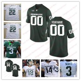 Wholesale michigan state football jerseys - Custom Michigan State Spartans #14 Brian Lewerke 3 LJ Scott 8 Kirk Cousins 24 LeVeon Bell 18 Cook NCAA College Football Jerseys Green White
