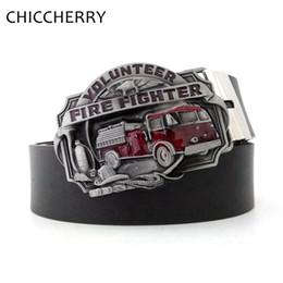 Wholesale firefighter gifts - Fashion Men's Jeans Black PU Leather Belts Volunteer Fire Fighter Firefighter Belt Buckles For Men Accessories Gift Erkek Kemer