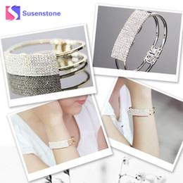 Canada Bracelet de bracelet pas cher Fashion Lady Bracelet élégant Bracelet Bracelet manchette en cristal Bling Cadeau Magnétique Or Argent # 501 supplier fashion magnetic bangles Offre