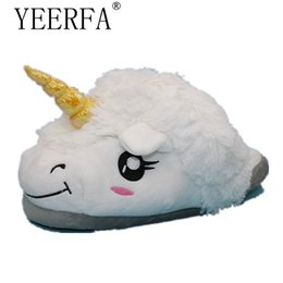 winter home slippers for men Promo Codes - 2017 Winter Warm Indoor Slippers Cute Cartoon Plush Unicorn Slippers for Grown Ups White Black Unisex Home white