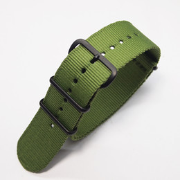 Wholesale watch strap 22mm nato - nylon canvas 18mm\20mm\22mm\24mm watch band blue\arym green solid nato outdoor sport climb slim riem strap\orologio for heren\sir\men\uomo