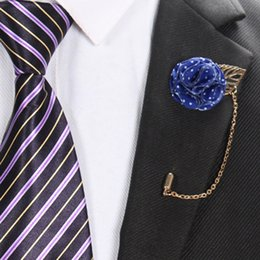 Wholesale women prom suits - Handmade Chiffon Flower Lapel Boutonniere Stick Brooch Pin Women Men Corsage Pins Brooches Tuxedo Suit Ornament Wedding Xmas Prom Party New
