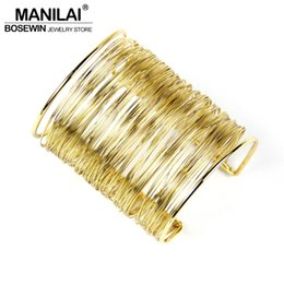 Wholesale Iron Lobster - whole saleBoho MultiLayer Iron Wire Women Cuff Bangle Fashion Wide Alloy Bangles & Bracelets Manchette Statement Jewelry Accessories BL223