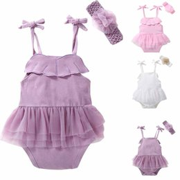 Wholesale Little Girl Boutique Wholesale - Ins Baby kids summer girl romper 2 pcs sets round collar little angle wing romper boutique outfits elegant romper +headband 3 color