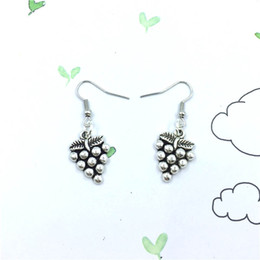 Wholesale Earring Grape Silver - 10pair lot Grape Fruit Earrings with Vintage Details Grape Charm Earrings Antique Silver Tone Earrings