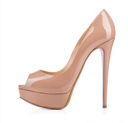 Wholesale Fish Furs - 2018 Nude Color Fish Mouth 14cm Red Bottom High Heels ,Women Luxury Brand Black Patent Leather Platform Peep-toes Sandals ,Shiny Leather Sho