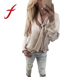 380e8b85bdf72 Feitong Design Women Long Sleeve Blouses Solid Sexy V Neck Bow Casual Loose  Blouse Tops Shirts blusas feminina 2018 New Arrival