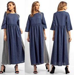 2019 long maxi abaya 2018 Casual Patchwork Maxi Dress Musulmane Abaya Kimono O Cou Longue Robe Robes Lâche Ramadan Moyen-Orient Vêtements Islamiques FS5827 promotion long maxi abaya