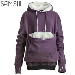 Saimishi púrpura bordado bolsillo grande jerseys mujeres sudadera otoño invierno cálido moda con amantes de gatos perro mascota sudaderas D18102907 desde fabricantes
