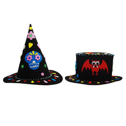 Wholesale pirate costumes children - Children Halloween Hat Cap Bat Witch Pattern Hats EVA Ghost DIY Hat Fancy Dress Party Christmas Halloween Costume Accessory