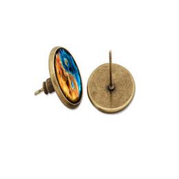 1a83b4023 Glass cabochon dome stud earring yellow blue Yin Yang tai ji earrings  Jewelry silver bronze black plated supplier dome earrings