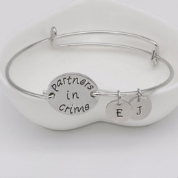 4282761c8 Adjustable Bangle Letter Personalized Bangle for women and Men Jewelry  Partner in Crime Bracelet Gift for Friends YP0035