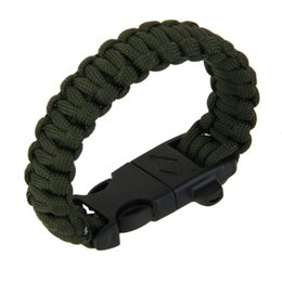 Wholesale camping whistles - Outdoor Camping Men Bracelet Rescue Paracord Parachute Cord Wristbands Emergency Rope Whistle Buckle Survival Kits
