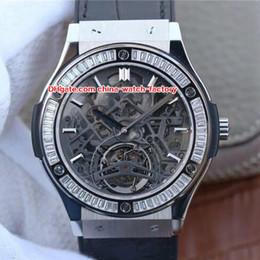 Wholesale mechanical skeleton watch movement - 6 Style Best Quality TF Factory 42mm x 11mm Skeleton Bang Diamond Bezel Swiss ETA 2836 Movement Transparent Automatic Mens Watch Watches