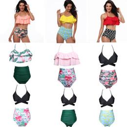 disegni bikini donne Sconti Donne BIKINI 9 stile Ruffles design e fiore stampa pois estate beach costumi da bagno bikini lady due pezzi costumi da bagno nave libera