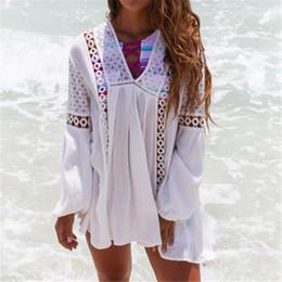 Wholesale Long Sleeve Chiffon Tunic Dress - Summer Pareo Beach Cover Up 2018 Long Sleeve Chiffon Bikini Cover Up Bathing Suit Cover Up Beach Tunic Dress Beachwear #Q367