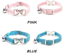 Wholesale Elastic Cat Collars - Free shipping Cat Collar Baby Puppies Dog Safety Elastic Adjustable with Bling Butterfly and bell Soft velvet material 10 pcs wholesale