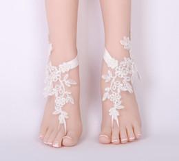 Sandalia descalza de encaje online-Mujeres de la manera de Encaje Sandalia Descalzo Beach Wedding Pie Tobillera Flor Novia wedding prom accesorio joyería del pie