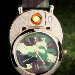 e557923fd59 2018 relógio de luxo camo assista isqueiro 2 em 1 recarregável eletrônico  isqueiro usb charge charme relógios de pulso mais leve 20 pcs relógio  recarregável ...