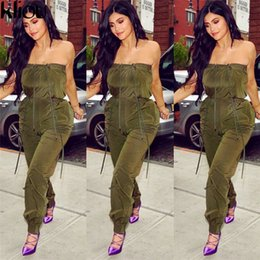 65fdc5bca42 Kliou 2018 New Army Green Lace Up Jumpsuits Ladies Summer Bodysuit Sexy Low  Cut Spaghetti Strap Off Shoulder Solid Jumpsuits
