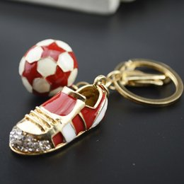 Wholesale Fashion World Shoes - World Cup Soccer Shoes Keychain Metal Trendy Football Ball Key Chain Ring Holder Fashion Car Pendants Ladies Bag Charm Pendant