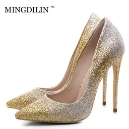 d57043cd58 MINGDILIN Silver Gold Women's High Heels Shoes Sexy Plus Size 33 43 Woman  Heel Shoes Pointed Toe Wedding Party Pumps Stiletto
