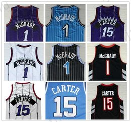 Wholesale Mcgrady S - Best Quality #1 Tracy McGrady Jersey New #15 Vince Carter Uniforms Throwback North Carolina College Basketball Clothes Purple Black White
