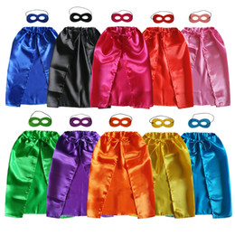 Wholesale Free Packet - 21 inch single suit cape+mask 10 sets packet 3-8 year old children's superhero role cosplay Halloween Costume
