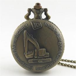 антикварные мужские часы Скидка Новый античный бронзовый JCB экскаватор, лошадь, крест кварцевые карманные часы кулон ожерелье для мужчин и женщин лучший подарок.