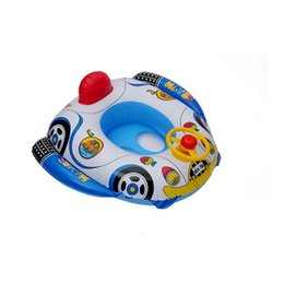 Wholesale pvc steering wheel - Children Cartoon PVC Environmental Protection Inflation Safety Swimming Ring Baby Thickening Funny Trumpet Boat With Steering Wheel 8lx W