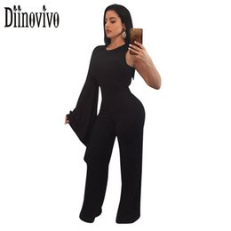 Wholesale Sexy Leotards For Women - One Sleeve Sexy Jumpsuits For Women O Neck Back Zipper Bandage Trousers Leotard Spring Black Red Cocktail Party Outfits SWS249