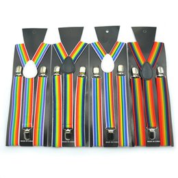 suspensórios arco íris Desconto Unisex Clip-on Suspensórios Suspensórios Elásticos Sete Cores Rainbow Stripe Padrão Elastic Y-back Suspensórios