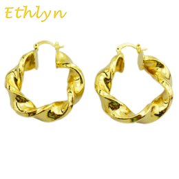 Wholesale Ethiopian Earrings - Wholesale- Ethlyn new gold fashion party Ethiopian African hoop earrings Gold Color hoop earrings For Women design